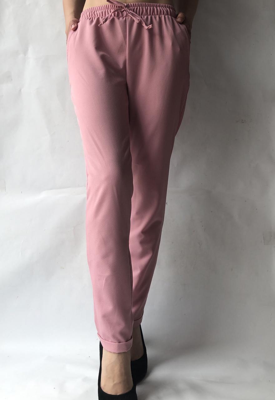 Батальные женские летние брюки №19 розовый. супер СОФТ (диагональка)