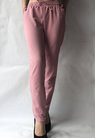Батальные женские летние брюки №19 розовый. супер СОФТ (диагональка), фото 2