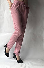Батальные женские летние брюки №19 розовый. супер СОФТ (диагональка), фото 3