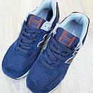 Чоловічі кросівки в стилі New Balance 574 сині (коричнева N), фото 6