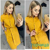 Платье однотонное коттоновое женское ГОРЧИЦА (ПОШТУЧНО)