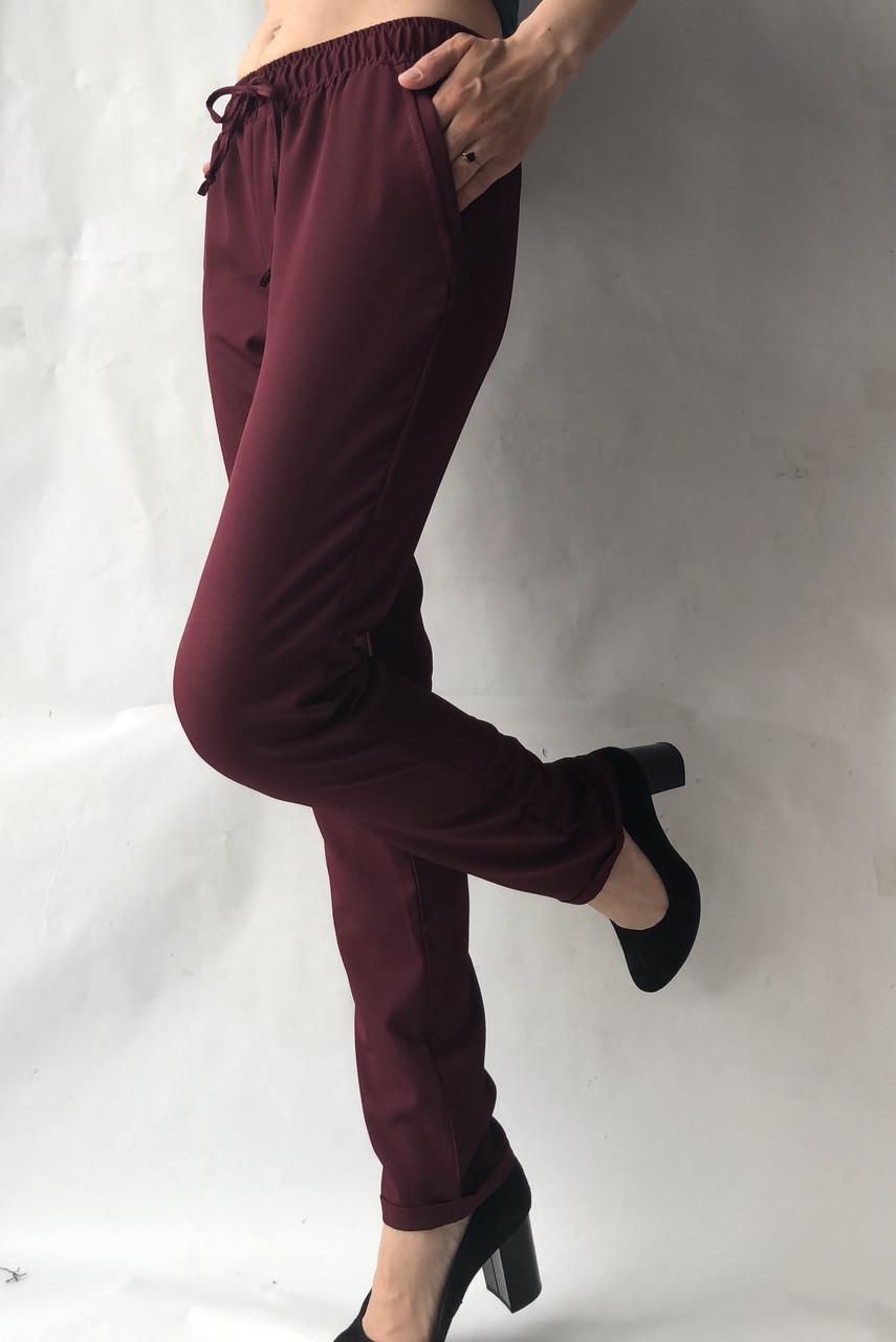 Батальные женские летние брюки №19 бордовый. супер СОФТ (диагональка)