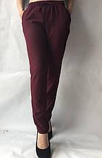 Батальные женские летние брюки №19 бордовый. супер СОФТ (диагональка), фото 3