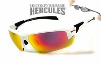 Спортивні окуляри захисні Global Vision Hercules-7 дзеркальні червоні в білій оправі, фото 1