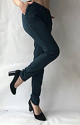 Батальные женские летние брюки №19 зеленый (бутилка). супер СОФТ (диагональка)