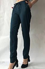 Батальные женские летние брюки №19 зеленый (бутилка). супер СОФТ (диагональка), фото 3