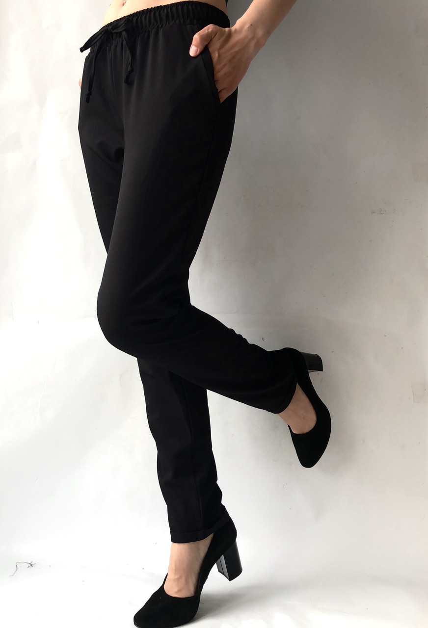 Летние брюки (супер софт, диагональка) , №19 Чёрный