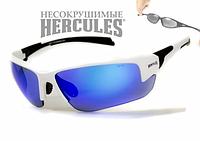 Защитные спортивные очки Global Vision Hercules-7 зеркальные синие в белой оправе, фото 1