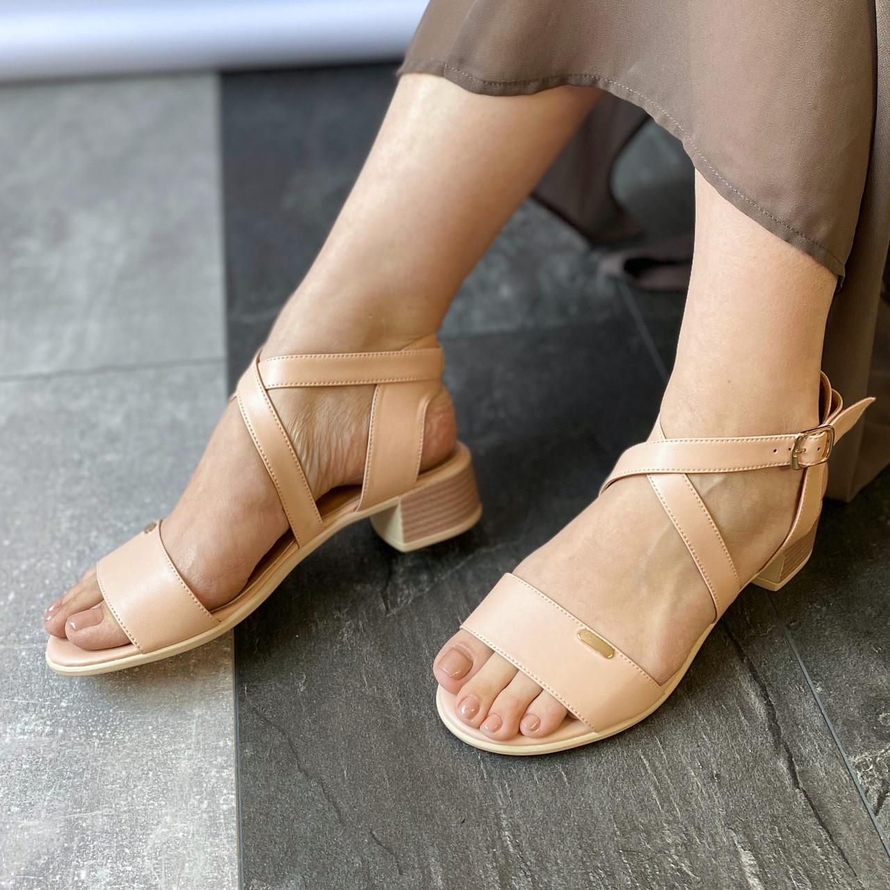 Женские босоножки на каблуке MORENTO - бежевые, экокожа, натуральная кожа, лето