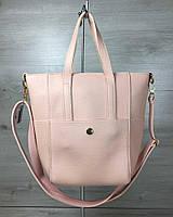 Молодежная женская сумка Милана  с классическим ремнем пудра цвета