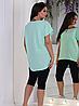 Женский летний трикотажный костюм с удлиненной футболкой, фото 2
