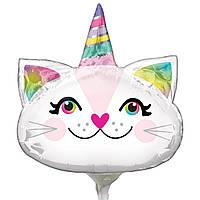 Фольгированный мини-шар Кошка-единорог (Anagram)