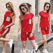 Женский стильный летний прогулочный костюм, футболка+шорты (двух нитка+сублимация софт), фото 4