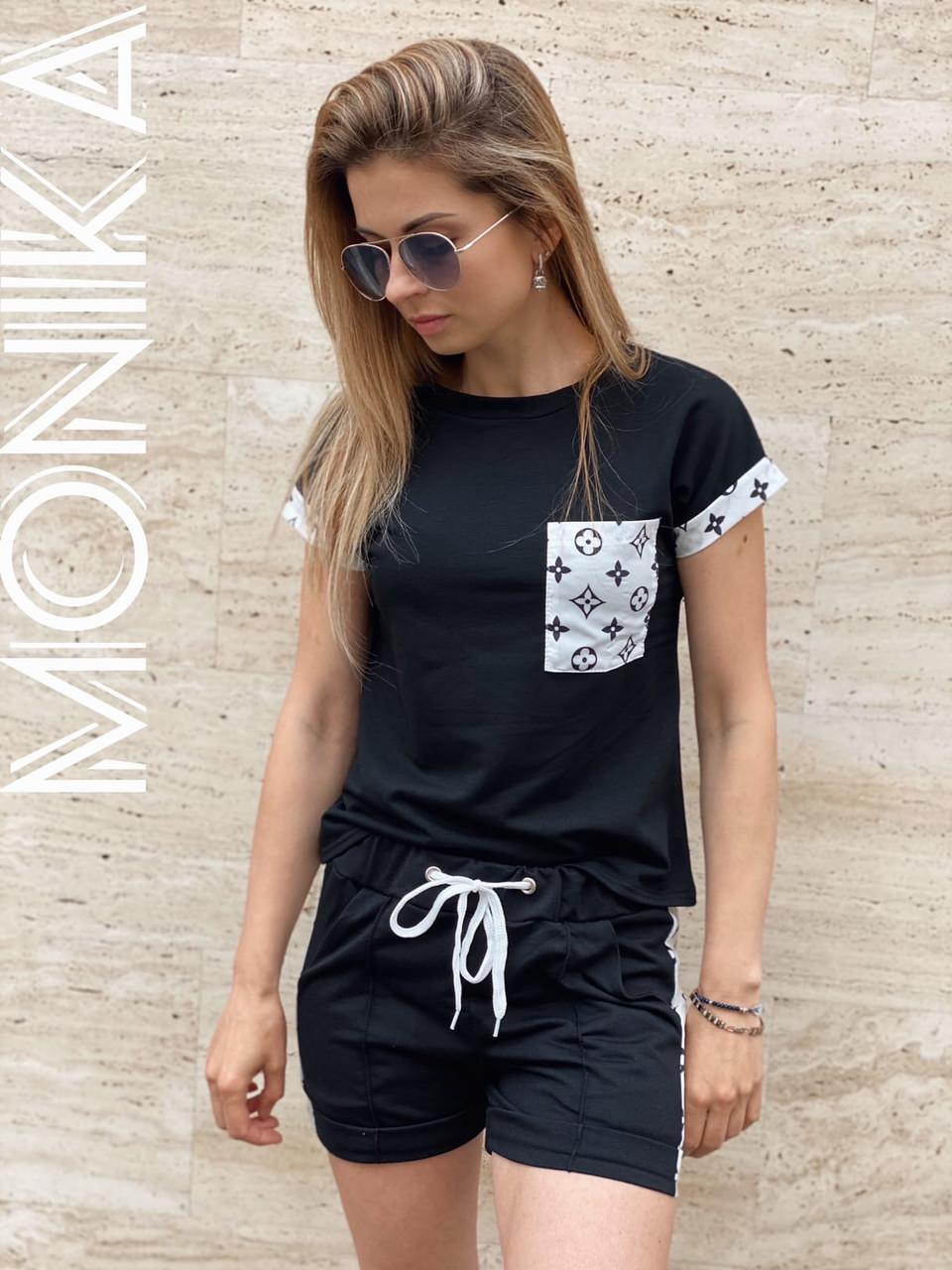 Женский стильный летний прогулочный костюм, футболка+шорты (двух нитка+сублимация софт)