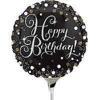 """Фольгированный мини-шар Happy Birthday чёрный горошек 9"""" (Anagram)"""