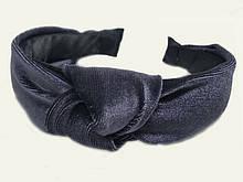 Обруч чалма велюровый женский серый
