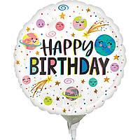 """Фольгированный мини-шар Happy Birthday космическая галактика 9"""" (Anagram)"""