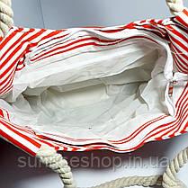 Пляжная сумка текстильная летняя мелкая полоса опт, фото 3