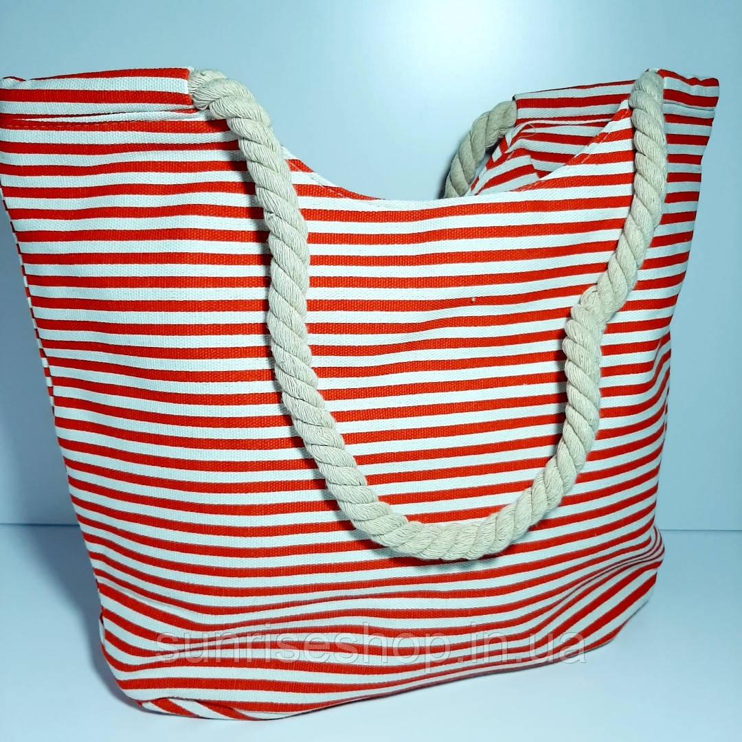 Пляжная сумка текстильная летняя мелкая полоса опт