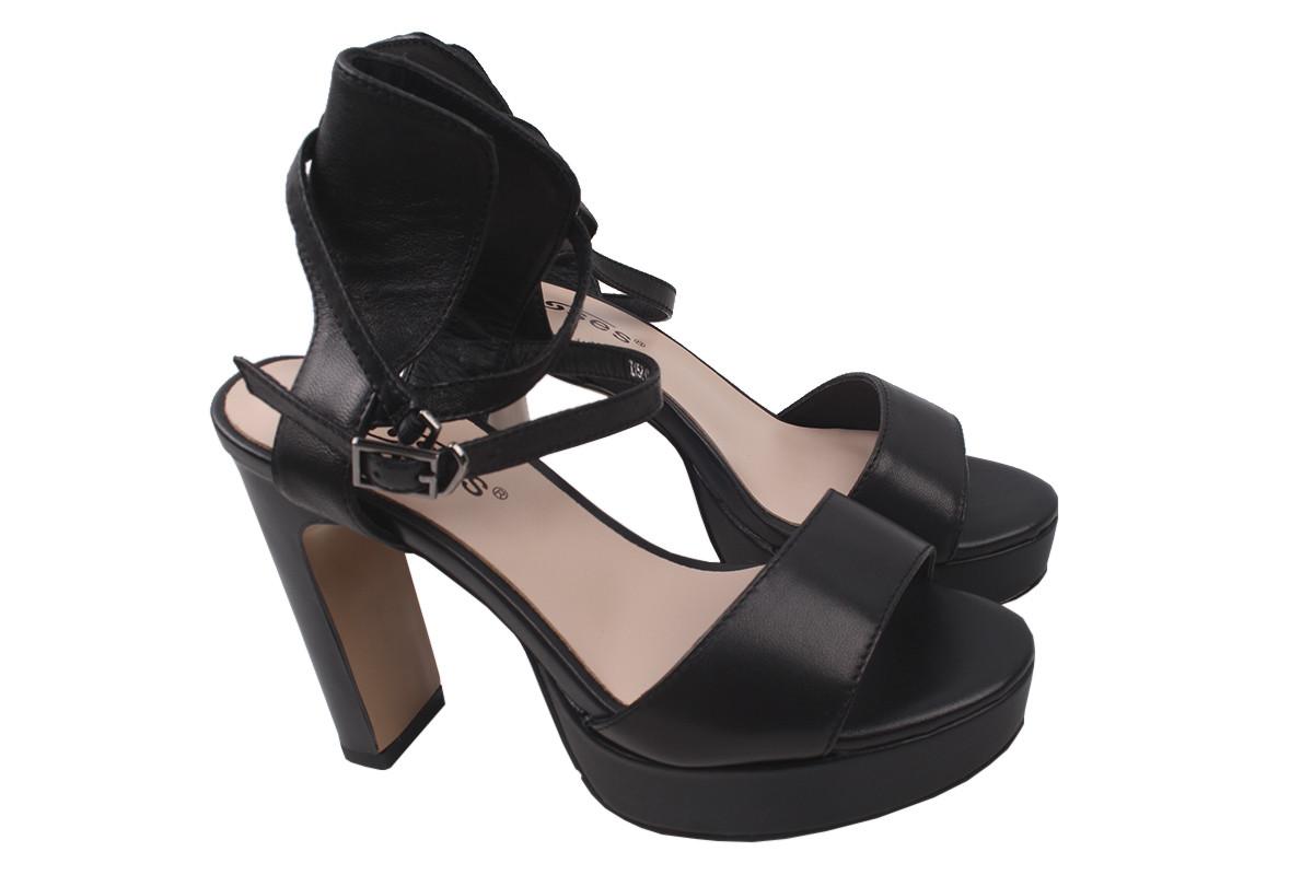 Босоножки женские на каблуке Erisses из натуральной кожы, черные