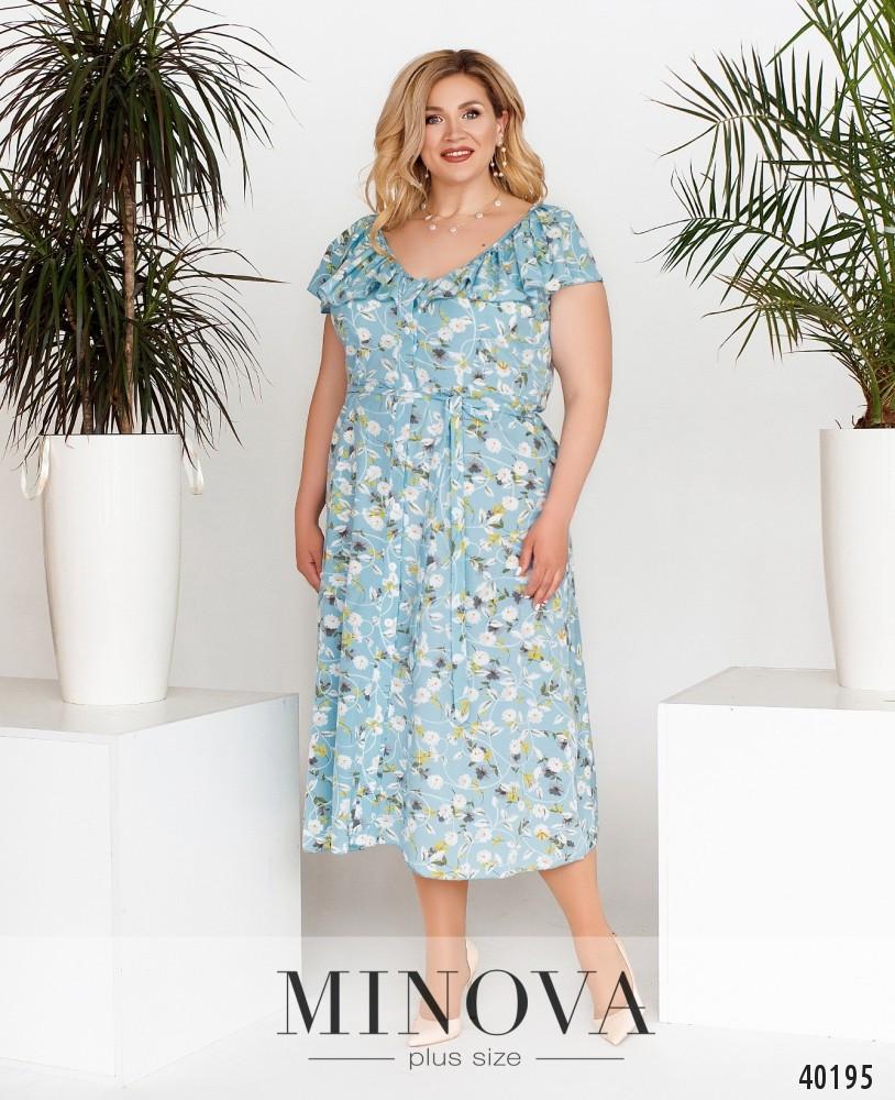 Прекрасное батальное платье из софта в цветочек, размер от 48 до 64