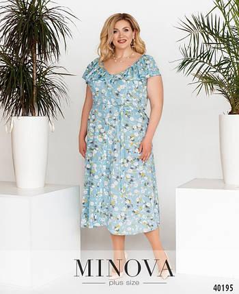 Прекрасное батальное платье из софта в цветочек, размер от 48 до 64, фото 2