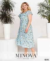 Прекрасное батальное платье из софта в цветочек, размер от 48 до 64, фото 3
