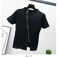 Женская футболка из мелкой машинной вязки с молнией по всей длине 65mfu283, фото 1