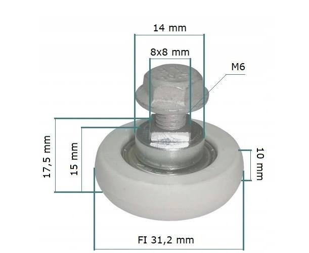 Ролик-подшипник сдвижной крыши полуприцепа SCHMITZ  D=31 мм