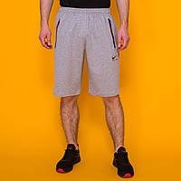 Длинные мужские шорты в стиле Nike Air (Найк) серого цвета. Больших размеров. Лето 2020. Код LS015
