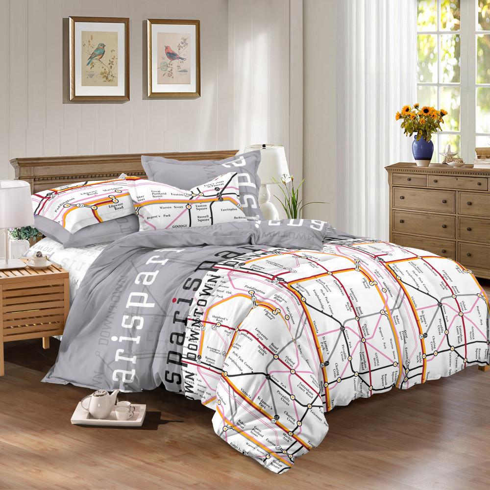 Двуспальный комплект постельного белья евро 200*220 сатин (10600) TM КРИСПОЛ Украина