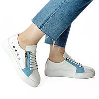 Женские кожаные белые кеды MORENTO - белые-голубые, натуральная замша, натуральная кожа, весна/лето/осень