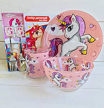 Дитячий набір скляного посуду для годування рожевий Єдиноріг 5 предметів