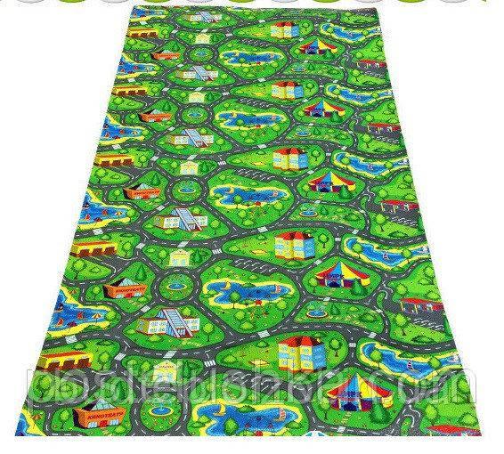 Детский развивающий игровой коврик для ползания малышей Verdani Городок 2000×1100×8 мм