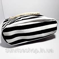 Пляжна сумка текстильна річна чорна смуга, фото 3