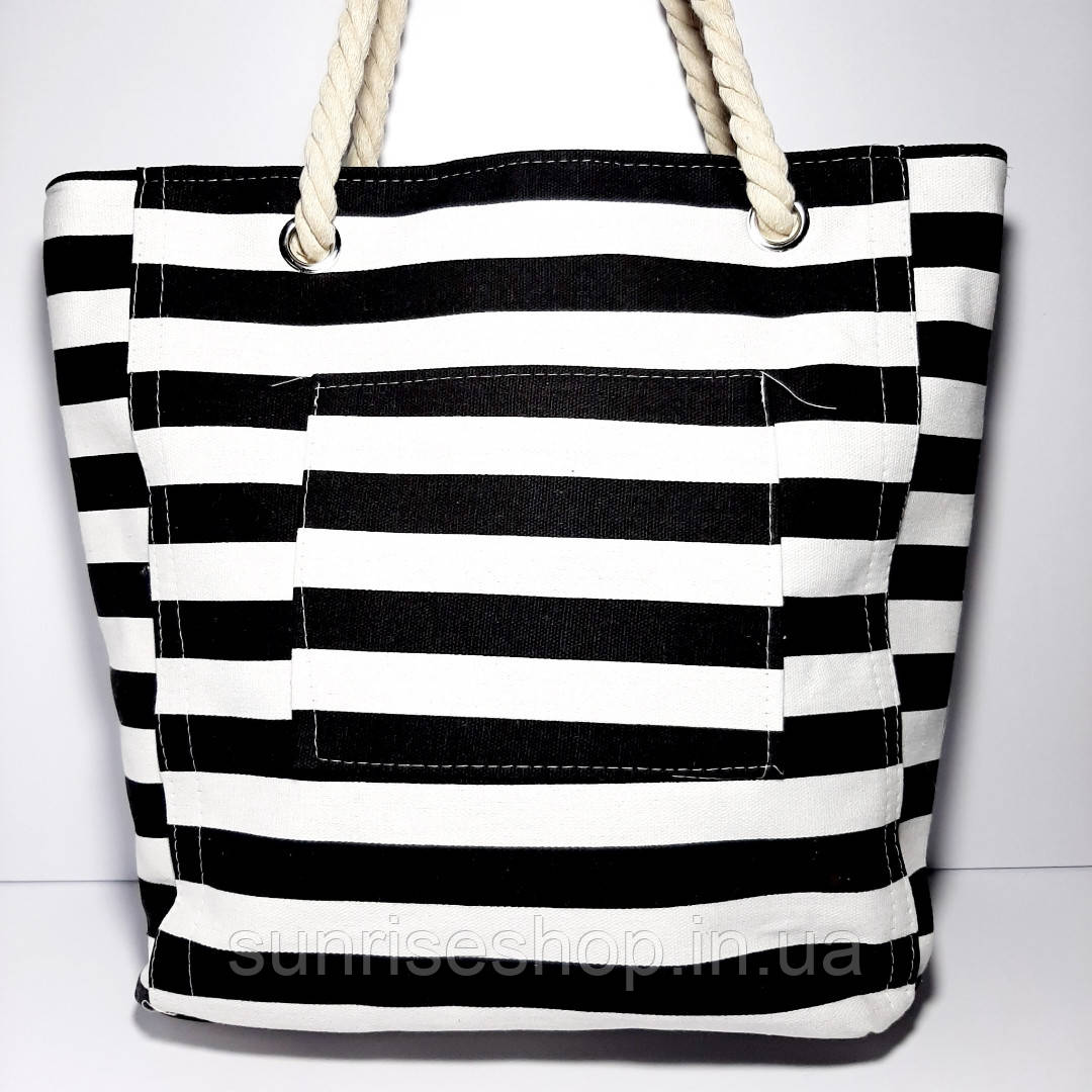 Пляжна сумка текстильна річна чорна смуга
