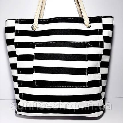 Пляжна сумка текстильна річна чорна смуга, фото 2