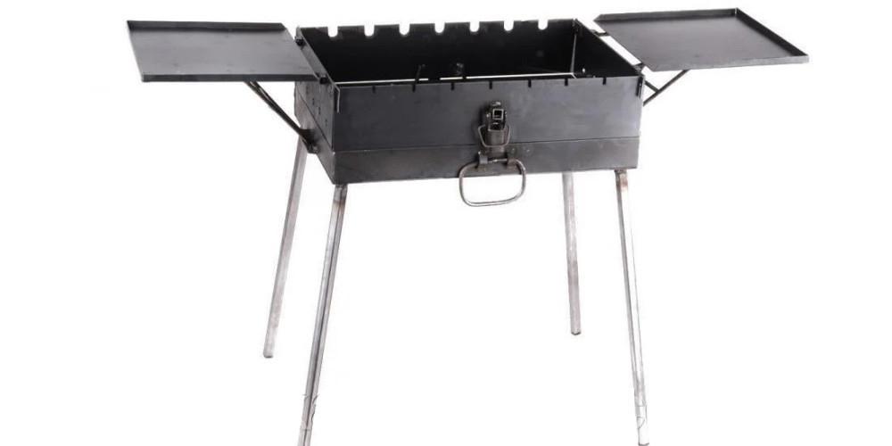 Мангал Чемодан складной, толщина 3 мм, с двумя столиками, на 12 шампуров + подарок