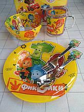 Дитячий набір скляного посуду для годування Фиксики 5 предметів
