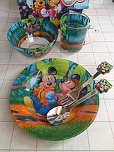 Дитячий набір скляного посуду для годування Міккі Маус 5 предметів