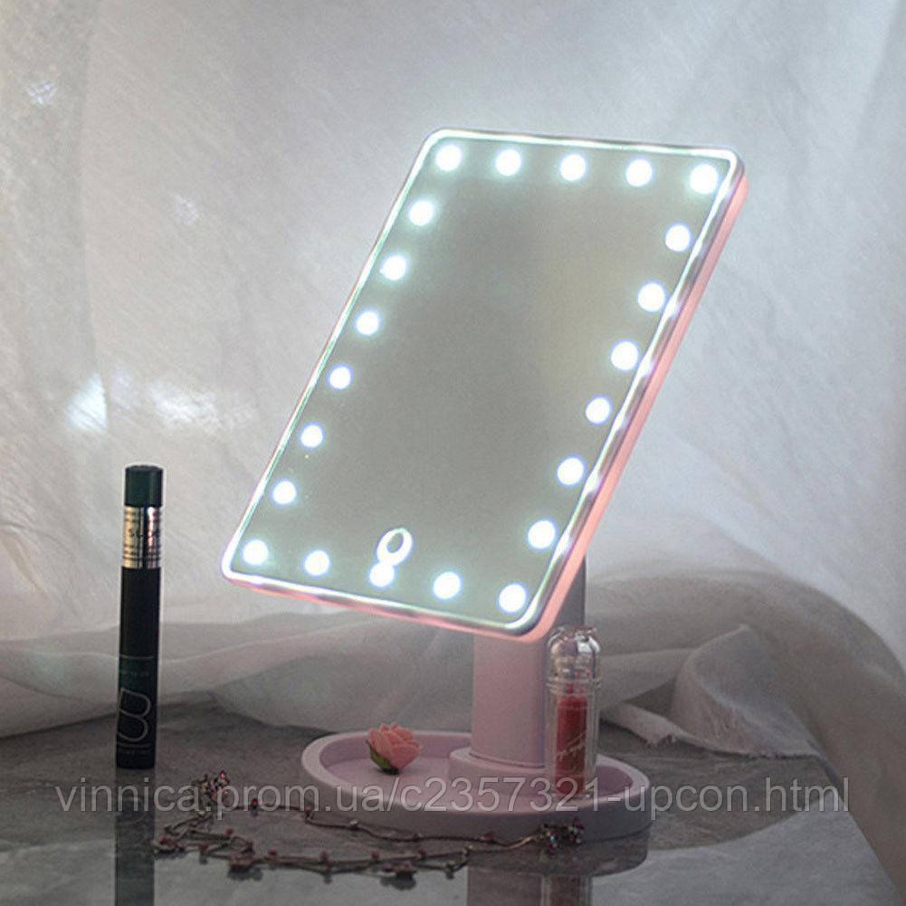 Косметическое зеркало для макияжа MAGIC MAKEUP MIRROR 22 LED поворотное с сенсорной кнопкой