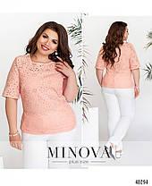 Легкая летняя блузка из прошвы, размер от 50 до 60, фото 3