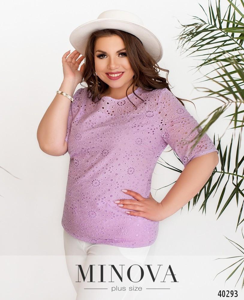 Легкая летняя блузка из прошвы, размер от 50 до 60