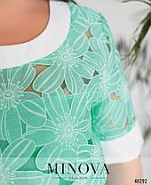 Яркая блуза из органзы с цветочным узором, размер от 50 до 60, фото 3