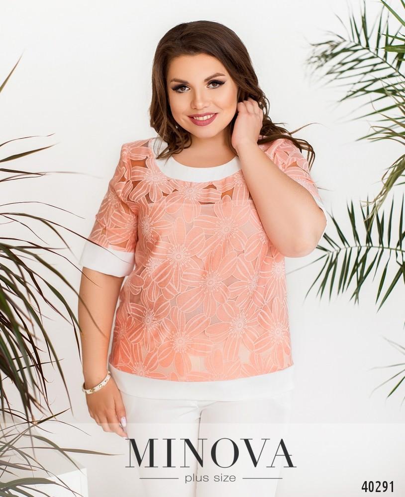 Яркая блуза из органзы с цветочным узором, размер от 50 до 60