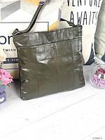 Женская кожаная сумка почтальонка кросс-боди сумочка квадратная через плечо оливковая натуральная кожа