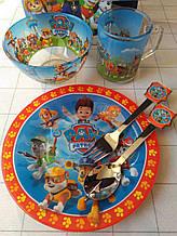 Дитячий набір скляного посуду для годування Собачий патруль 5 предметів