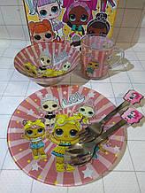 Дитячий набір скляного посуду для годування Лол 5 предметів