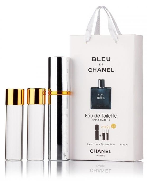 Подарочный набор Chanel Bleu de Chanel edt 3X15 ml, мужская туалетная вода!