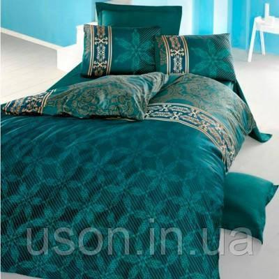 Комплект постельного белья сатин delux Tм Victoria евро размер Alisa green